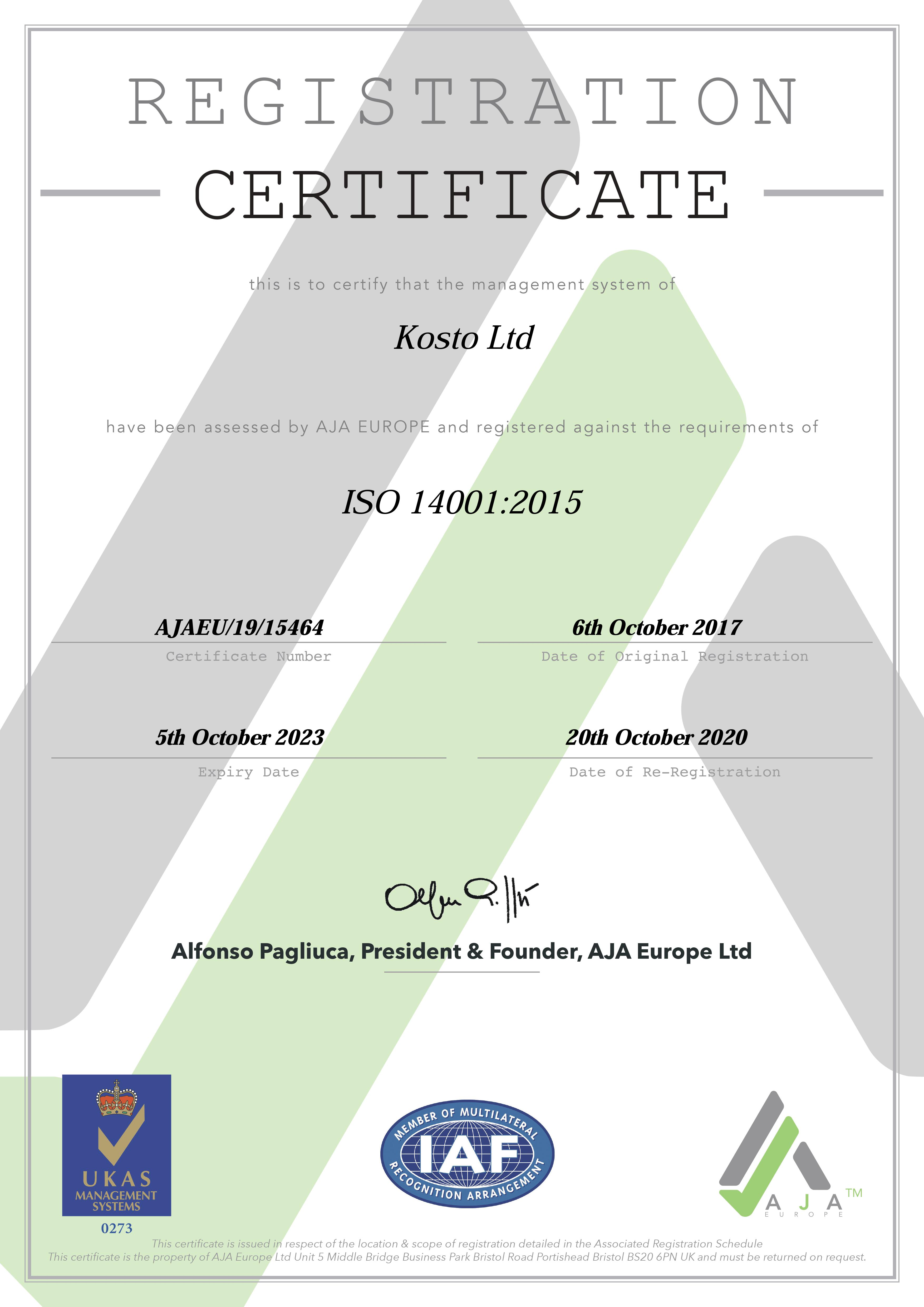 ISO 14001 certificate 2017 Home